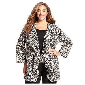 Calvin Klein ponte waterfall leopard animal jacket